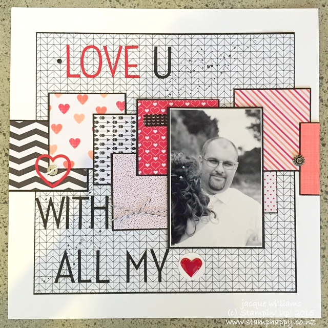 stampin up stacked with love scrapbooking layout