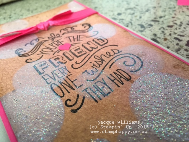 stampin up friendly wishes bokeh iridescent ice