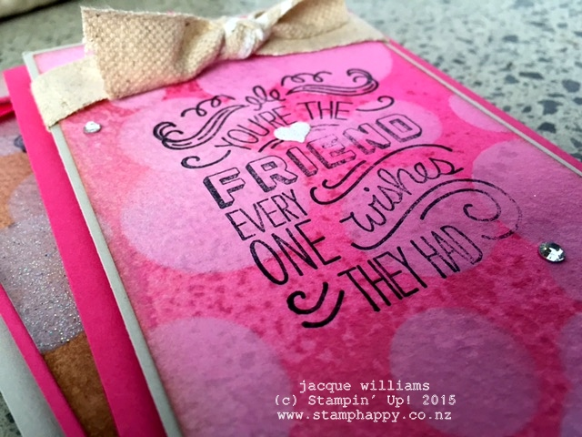 stampin up friendly wishes melon mambo bokeh