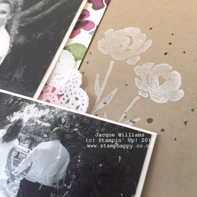 stampin up painted petals dsp scrapbooking layout whisper white ink