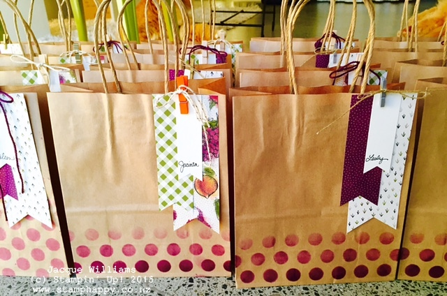 stampin farmers market bag banner punch