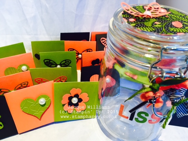 stampin up love notes gift cards jar easy idea
