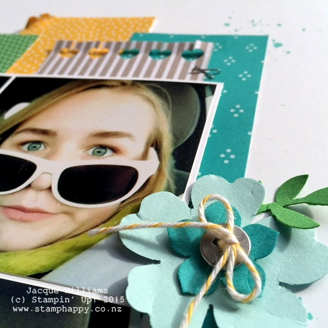 stampin up pansy punch hello life scrapbook layout