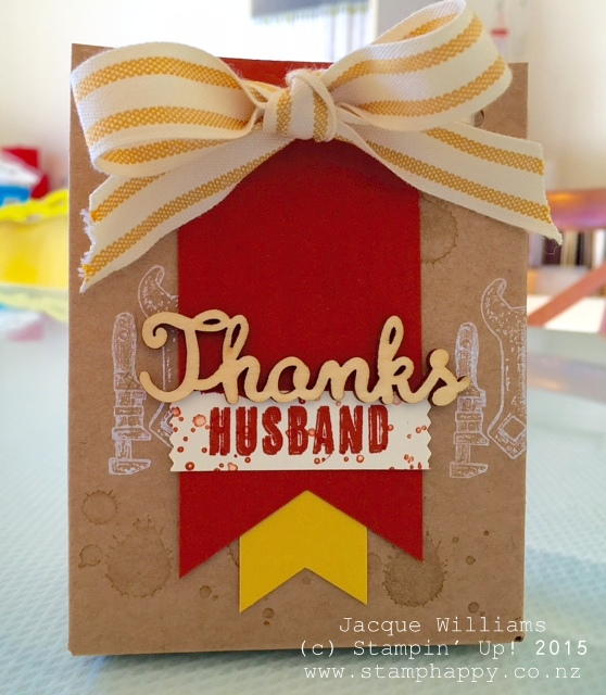 stampin up guy greetings masculine punch board gift bag