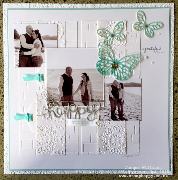 stampin up endless thanks crazy about you 3 photo monochromatic scrapbooking layout