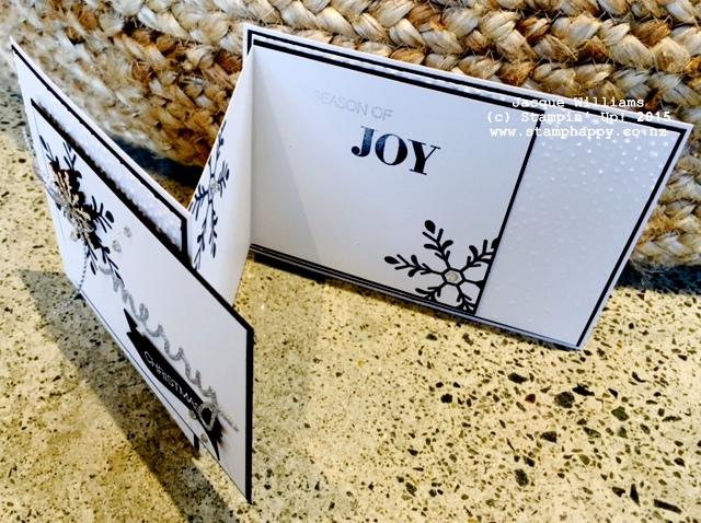 stampin up holly jolly black white z fold card