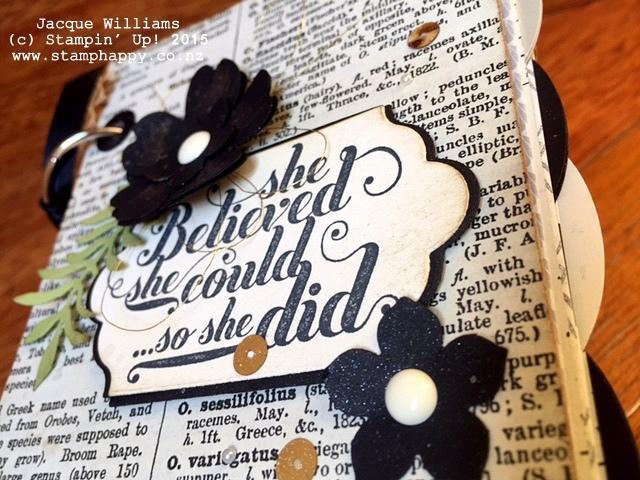 stampin up books timeless elegance typeset black white altered gift diy