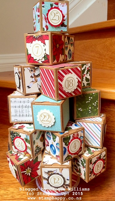 stampin up christmas advent tree boxes