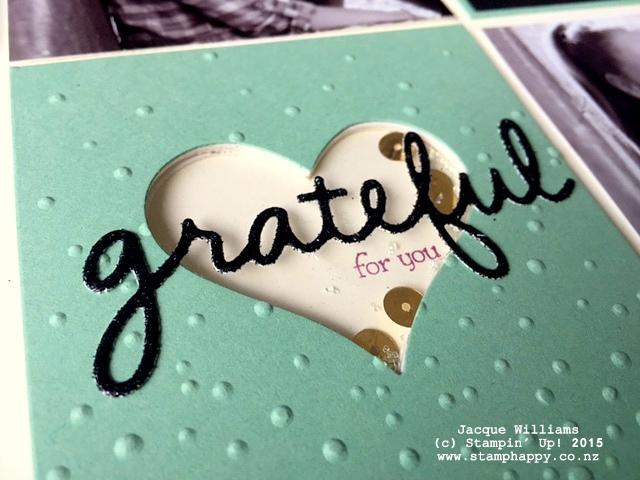 stampin up shaker grateful gold mint macaron sequin