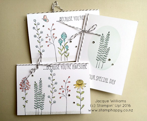 stampin up flowering fields new zealand card set gift diy easy quick workshop jacque williams