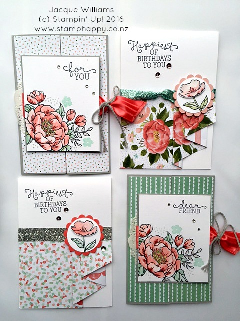 stampin up jacque williams stamphappy new zealand birthday blooms diy birthday gift idea cards watercolour