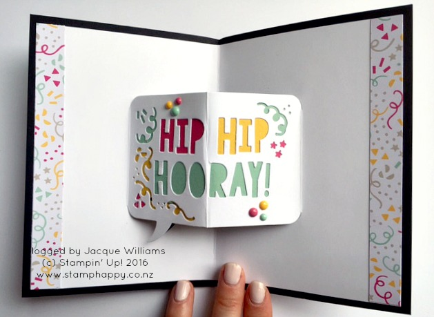 stampin up party wishes pop up thinlits birthday card stamphappy jacque williams