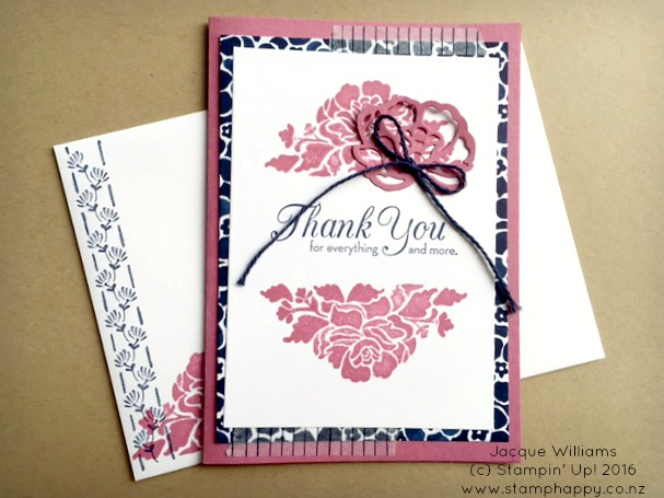 stampin up floral phrases night of navy sweet sugarplum swap thank you card