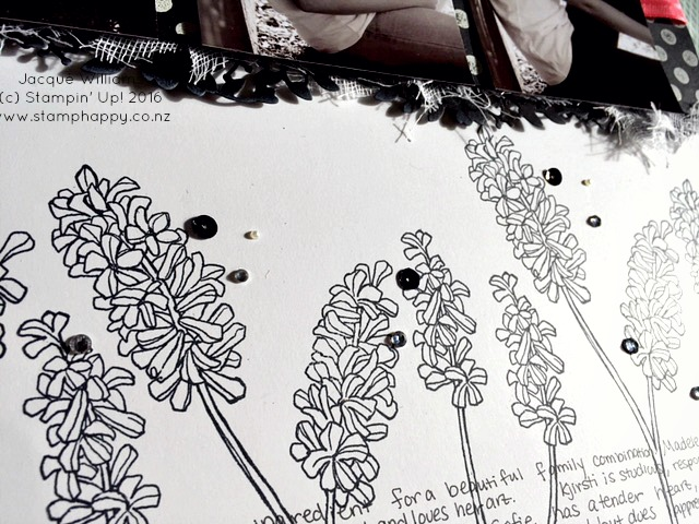 stampin up helping me grow black white scrapbook layout mesh