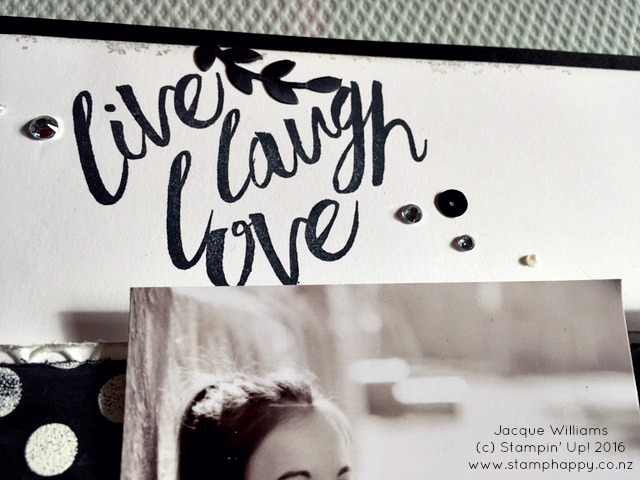 stampin up helping me grow layering love bloomin heart die black white scrapbook