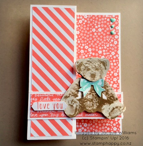 stampin up baby bear subtles baby card