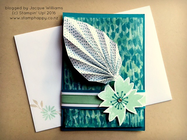 stampin up blooms and wishes leaf fold origami