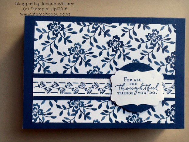 stampin up floral phrases navy box card set