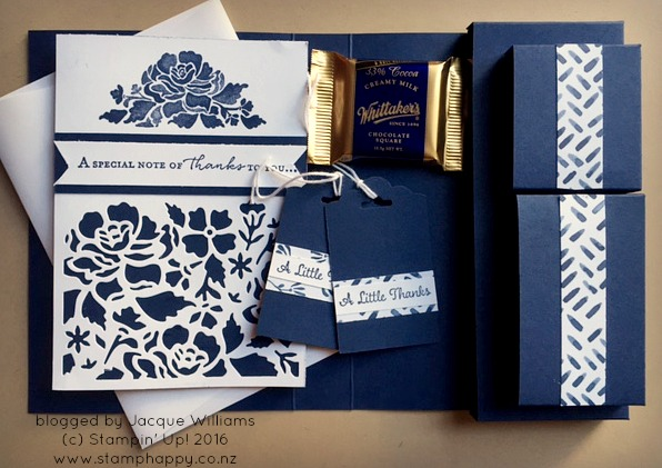 stampin up floral phrases night of navy gift set