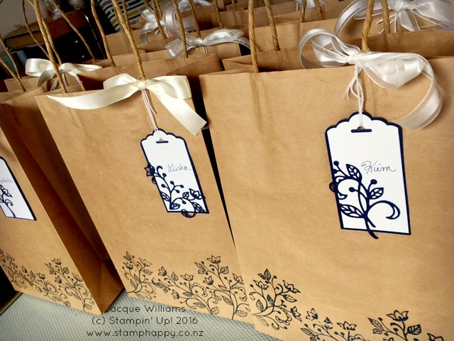 stampin up flourishing phrases gift bags