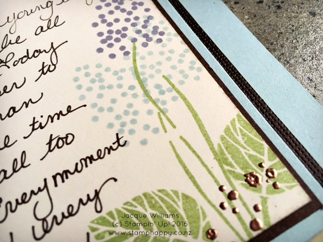 stampin up thoughtful branches copper emboss hydrangea