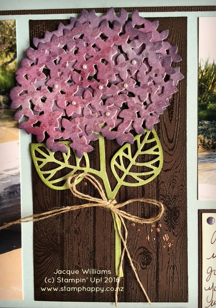 stampin up thoughtful branches hydrangea hardwood embossing watercolor