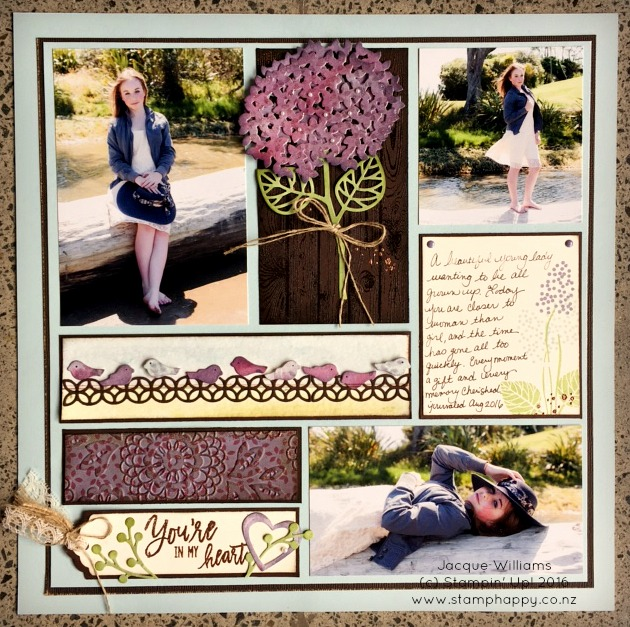 stampin up thoughtful branches scrapbook layout hydrangea watercolor