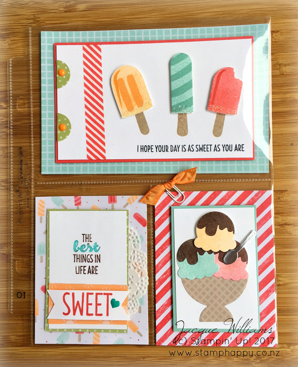 stampin up cool treats pocket letter swap new zealand jacque williams