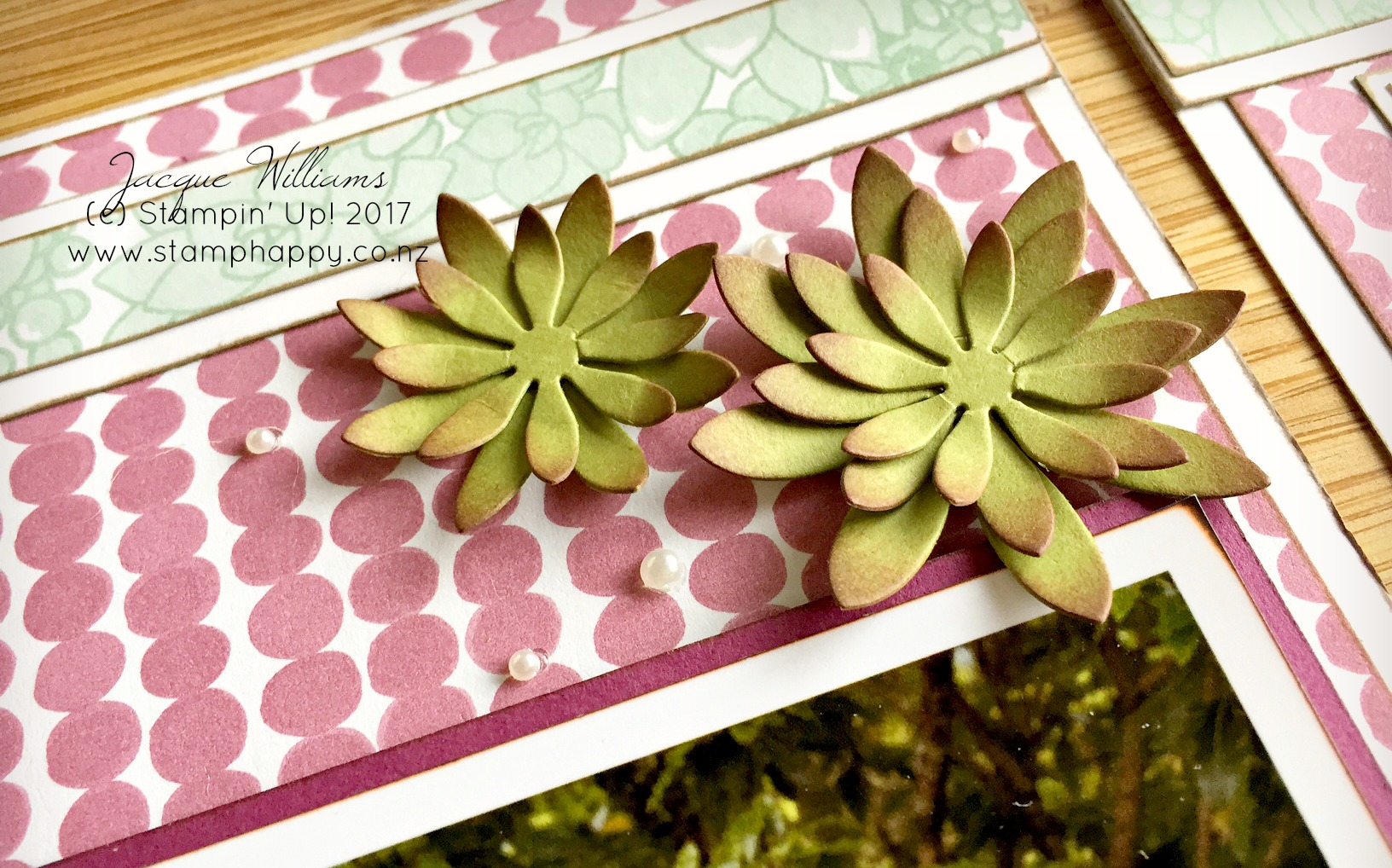 stampin up succulent garden flowers coordinating sugarplum double female layout