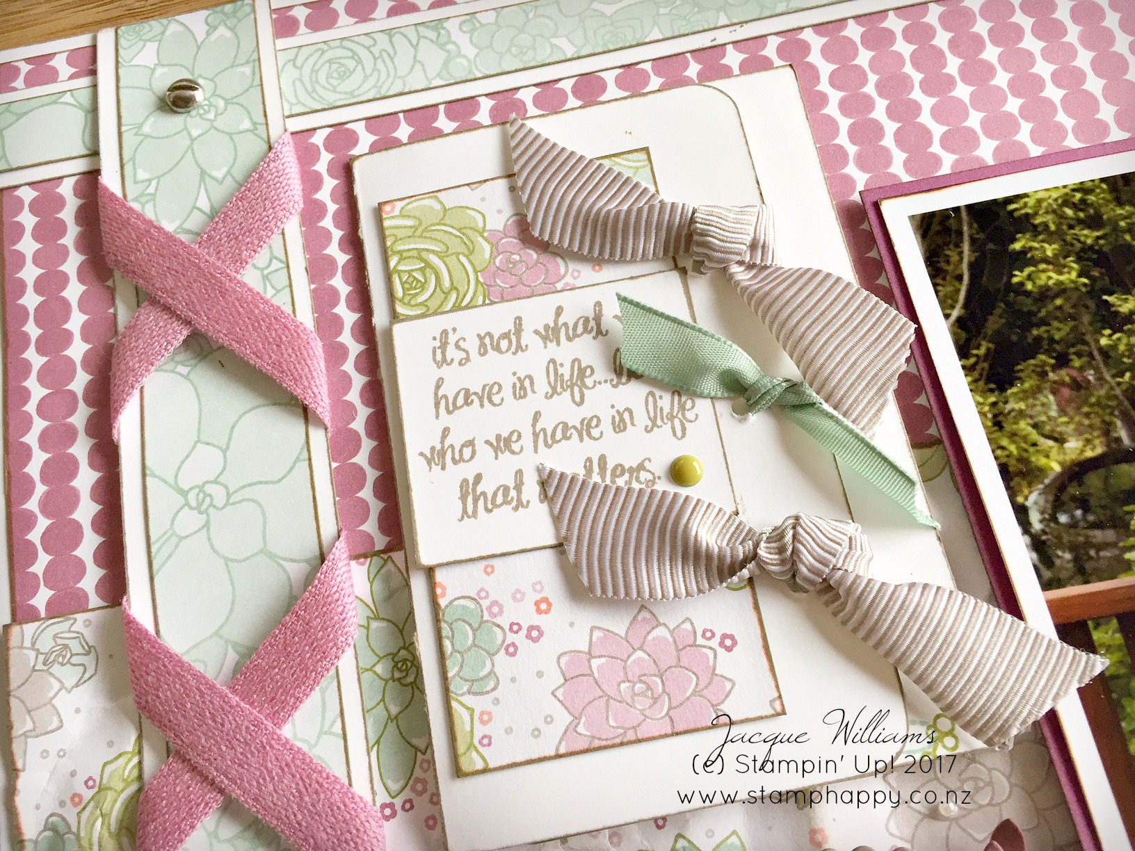 Stampin Up Succulent Garden Layout Hidden Photo Journaling Sugarplum Ribbon