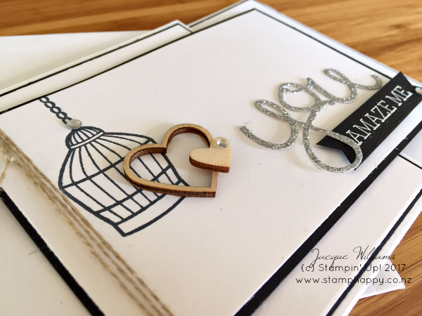 stampin up birdcage builder z fold falling in love wooden heart embellishment silver glitter paper heat emboss black white