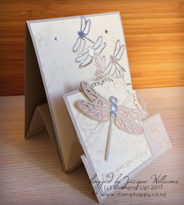 stampin up dragonfly dreams fancy fold wedding vintage