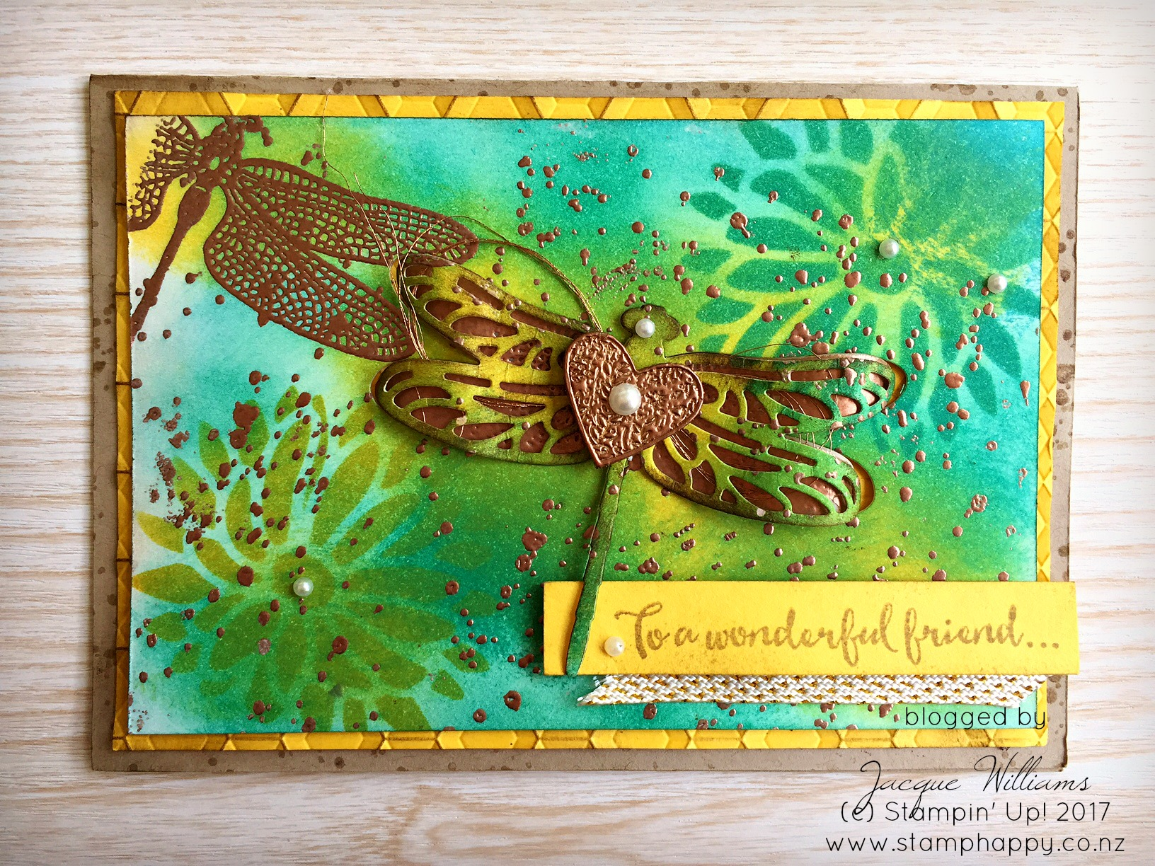 stampin up dragonfly dreams masking technique copper emboss wooden heart vintage
