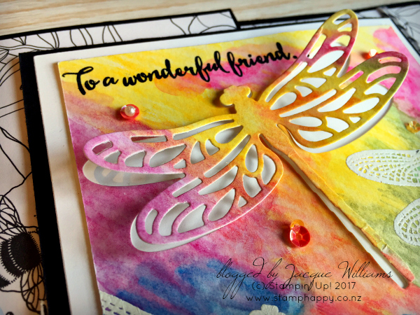 stampin up dragonfly dreams watercolor pencils joy fold
