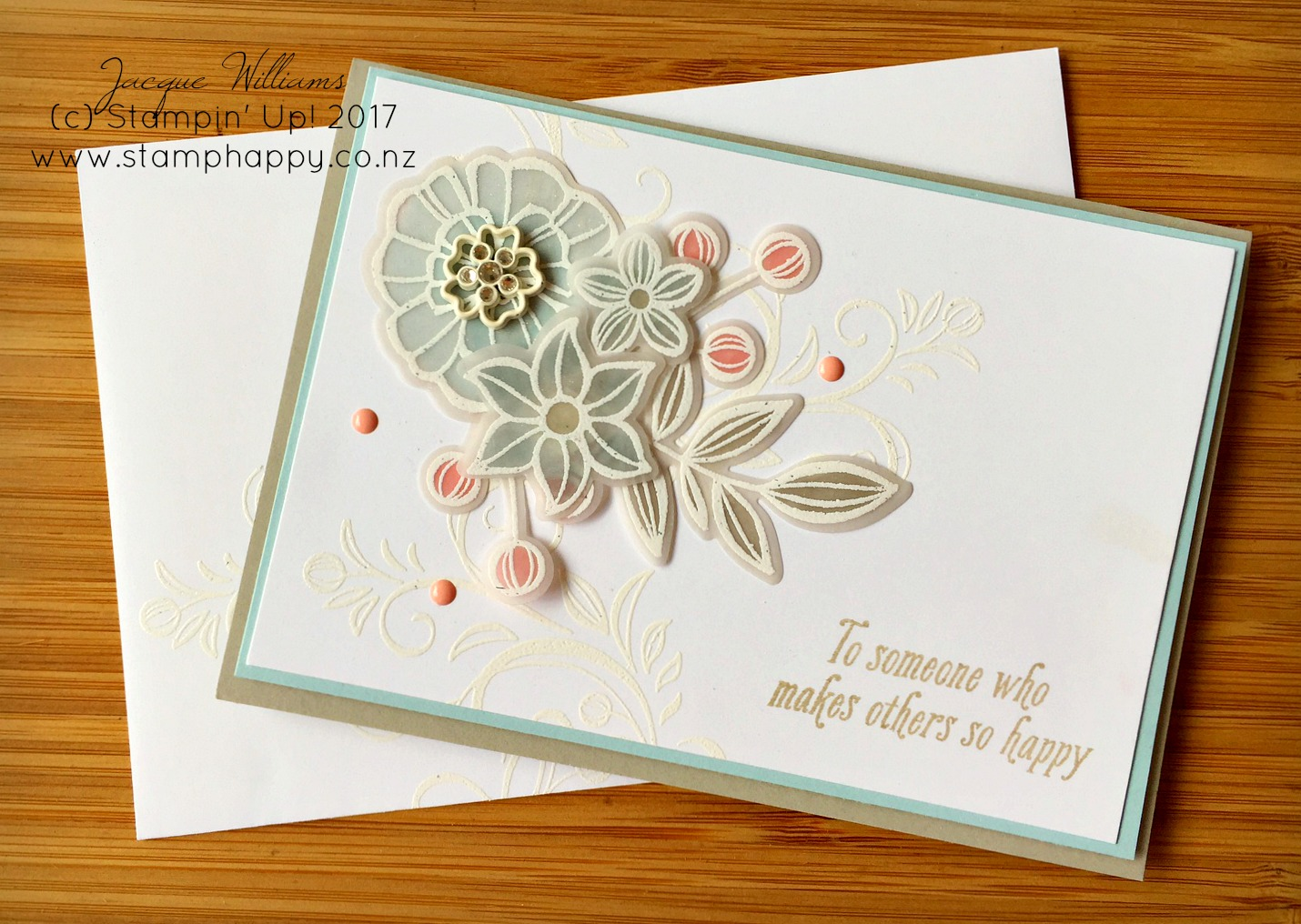 stampin up falling flowers blushing bride vellum embossed white wedding