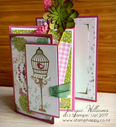 stampin up four panel succulent birdcage gift and card bookmark