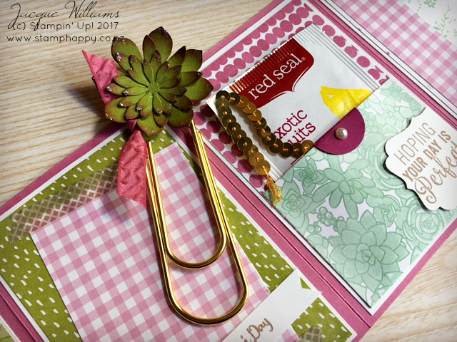 stampin up succulent four panel mother's day card