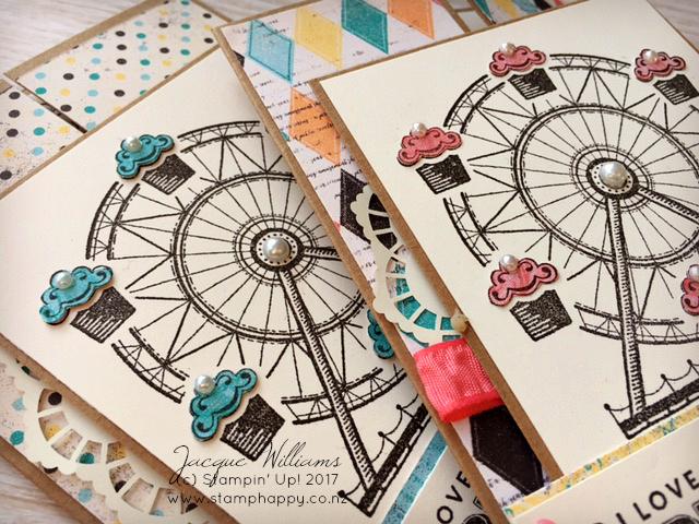 stampin up carousel birthday card gate fold vintage