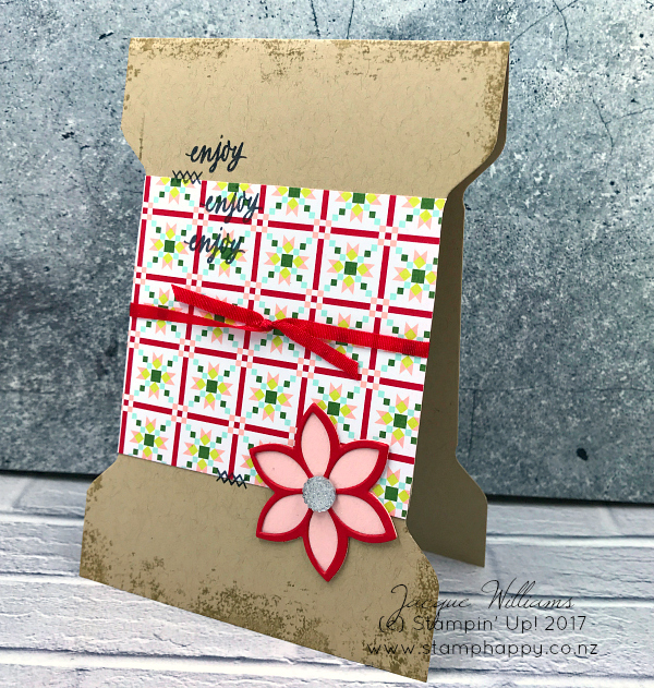 Christmas Quilt Spool Card Stamp Happy Jacque Williams Stampin Up Demonstrator