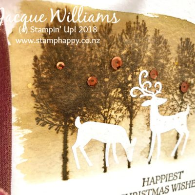 Dashing Deer Watercolor Resist Card with Winter Woods – Tutorial Available