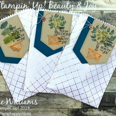 Beauty & Joy Copper Foil Gift Bags Idea