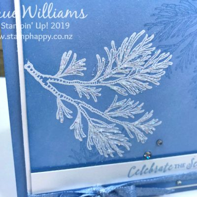 All Stars October Blog Hop – Peaceful Boughs in Seaside Spray for a Quick Christmas Card