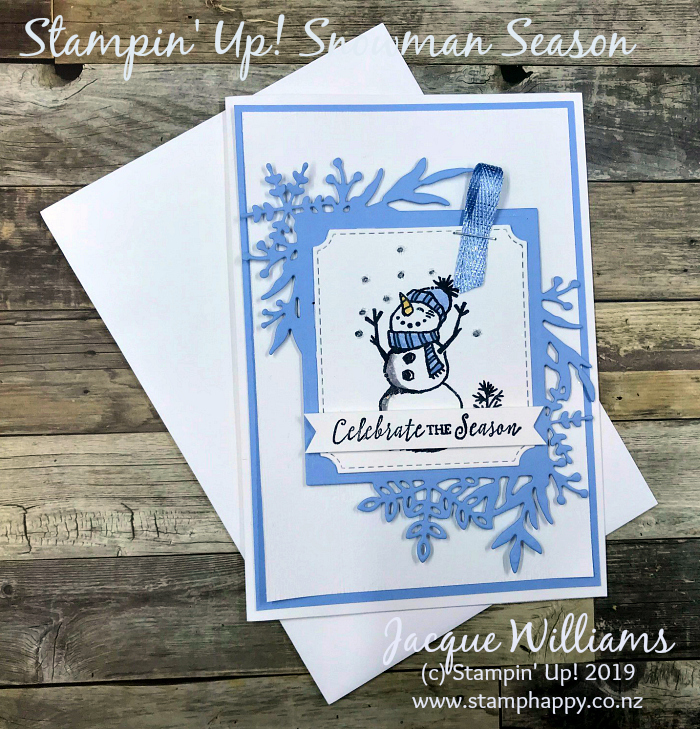 Snowman Season For A Quick Pretty Christmas Card Stamp Happy Jacque Williams Stampin Up Demonstrator