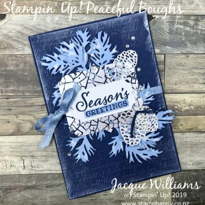 One More Christmas Card – Peaceful Boughs in Navy and Silver