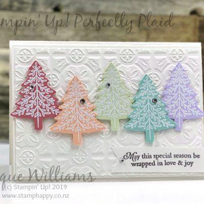 Perfectly Plaid Rainbow Christmas Trees – Quick Christmas Card