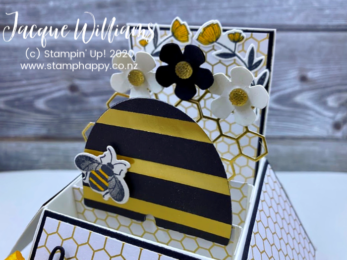 stampin up golden honey bee bundle masculine birthday baby card bees pop up card in a box