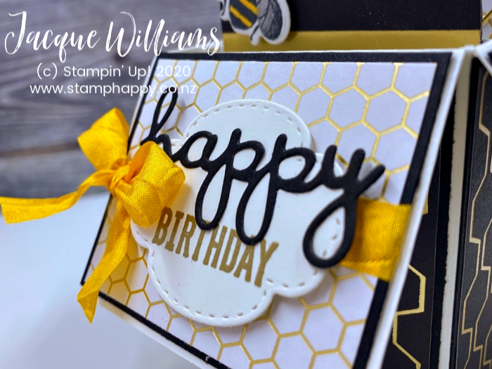 Honey Bee Golden honey stampin up masculine birthday pop up card in a box fun fold