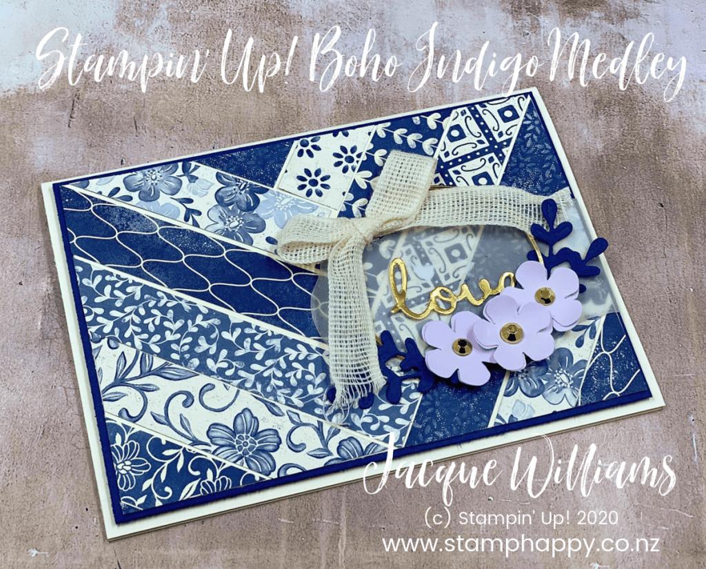 stampin up boho indigo medley herringbone diagonal background cardmaking card kits new zealand navy vanilla wreath gold hoop