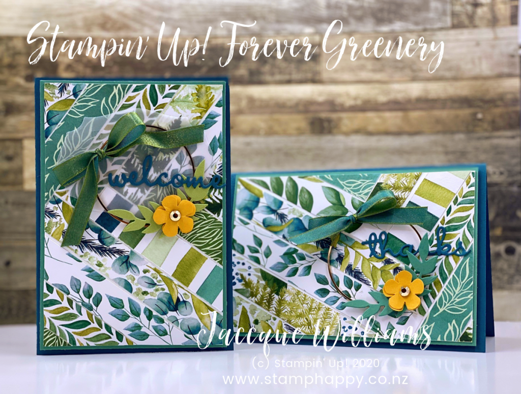stampin up forever fern forever greenery diagonal stripe using scraps of patterned paper gold hoops wreath card recycle