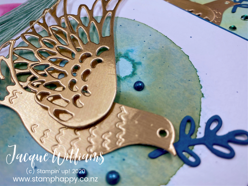 stampin up dove of hope watercolour watercolor circle tip technique diy tassel easy quick wedding christmas card video tutorial made in new zealand